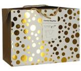 Dárková papírová taška krabice 18 x 12 x 9 cm uzavíratelná, se zlatými kolečky