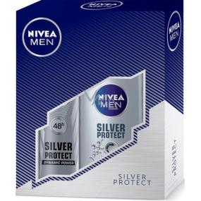 Nivea Silver Protect Men sprchový gel 250 ml + Silver Protect Dynamic Power antiperspirant ve spreji pro muže 150 ml,pro muže kosmetická sada