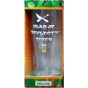 Albi Pivní liga Půllitr v krabičce Hlad je převlečená masivní sklo 0,5 l