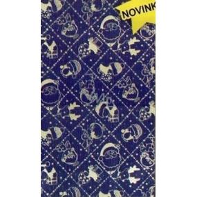 Nekupto Celofánový sáček 15 x 25 cm Vánoční modrý, stříbrné motivy 170 40 SN