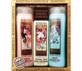 Bohemia Alfons Mucha šípky a růže krémový sprchový gel 200 ml + med a obilí krémový sprchový gel 200 ml + aquaminerály toaletní mýdlo 120 g, kosmetická sada