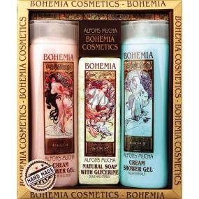 Bohemia Gifts Alfons Mucha Šípky a růže krémový sprchový gel 200 ml + med a obilí krémový sprchový gel 200 ml + aquaminerály toaletní mýdlo 120 g, kosmetická sada