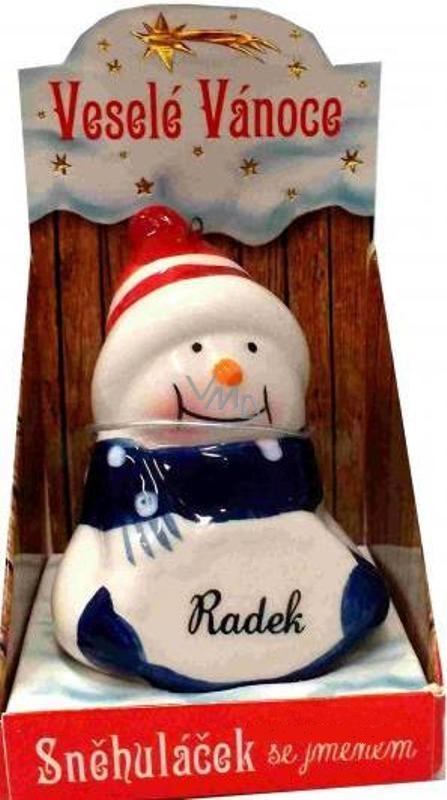 Nekupto Sněhuláček se jménem Radek Vánoční dekorace rozměr 8 cm