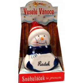 Nekupto Sněhuláček se jménem Radek Vánoční dekorace 066 rozměr 8 cm