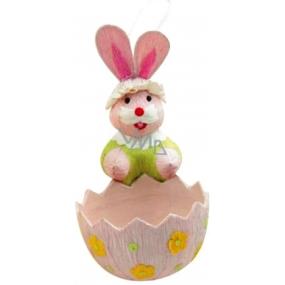 Zajíček s košíčkem růžovým 12 x 6 cm