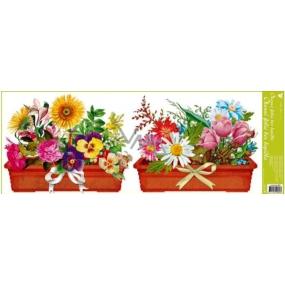 Okenní fólie bez lepidla pruh truhlíkové květiny dva truhlíky 60 x 22,5 cm