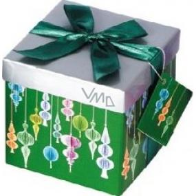 Dárková krabička s mašlí skládací vánoční zelená se zelenou mašlí 1371 S 13 x 13 x 13 cm 1 kus