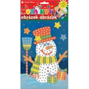 Mozaikový hrací set Vánoce sněhulák s čepicí 23 x 16 cm