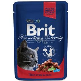 Brit Premium Hovězí + hrášek v omáčce kapsička pro dospělé kočky 100 g Kompletní krmivo