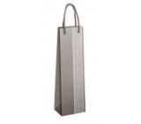 Ditipo Dárková papírová taška na láhev Stříbrná 12 x 9 x 39 cm EKO 2924049