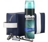 Gillette Mach 3 holící strojek + 2 náhradní hlavice + Comfort gel na holení 200 ml + etue kosmetická sada pro muže