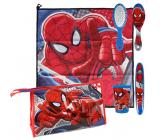 Marvel Spiderman Hygienický set plastový kelímek, hřeben na vlasy, držák na zubní kartáček, ručník (40 x 40 cm) a taštičku