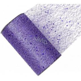 Stuha síť s glittrem fialová 15 cm x 2,7 m