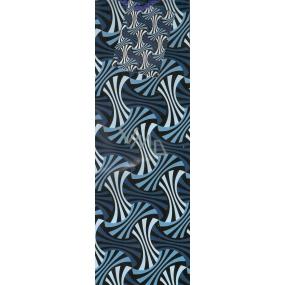 Nekupto Dárková papírová taška na láhev 864 40 ALH Modrá s dekorem 33 x 10 x 9 cm