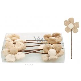Zápichy květinky z béžové látky 12 cm 1 kus