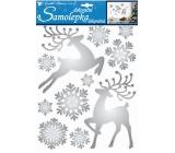 Room Decor Samolepky jeleni a vločky lesklé stříbrné 35 x 27,5 cm
