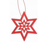 Dřevěná hvězda závěsná 10 cm, červená