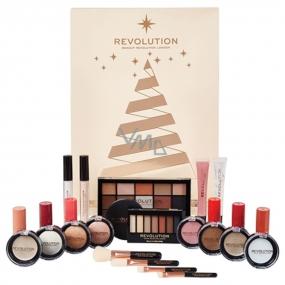 Makeup Revolution stíny, rozjasňovač, báze, bronzer, rtěnka, lesk na rty, kosmetický štětec, zrcátko, Adventní kalendář kosmetická sada