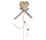 Dekorace dřevěná 8 cm + špejle srdce