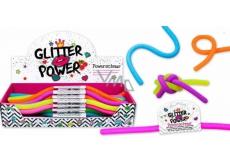 Power Schnur elastický plast, který je roztažitelný do 2 metrů! glitrový - oranžový