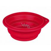Trixie Miska cestovní, silikonová, skládací červená, průměr 14 cm, 0,5 l