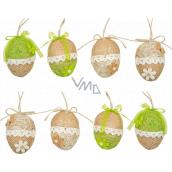 Vajíčko z juty na zavěšení 6 cm 1 kus