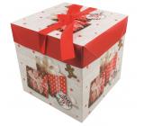 Dárková krabička skládací s mašlí Vánoční s dárky a perníčkem 10,5 x 10,5 x 10,5 cm