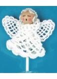 Háčkovaný andílek na špejli 7 cm + špejle