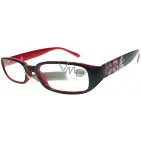 Berkeley Čtecí dioptrické brýle +1,50 černočervené s kytkama 1 kus MC 2103