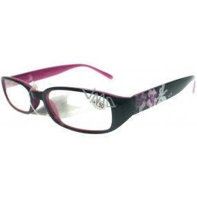 Berkeley Čtecí dioptrické brýle +1,50 černorůžové s kytkama 1 kus MC 2103