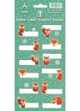 Arch Vánoční etikety samolepky Lišky zelený arch 708 12 etiket