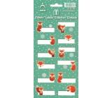 Arch Vánoční etikety samolepky Lišky zelený arch 12 etiket