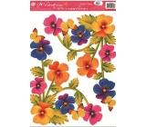 Room Decor Okenní fólie bez lepidla rohová květiny s motýlky 37 x 26 cm