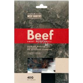 Meat Makers Beef Jerky Sweet Asian Chilli dochucené plátky hovězí kýty konzervované sušením 40 g