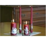 Lima Relief zimní svíčka metal vínová válec 50 x 100 mm 1 kus