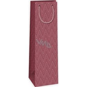 Ditipo Dárková papírová taška na láhev 12,3 x 7,8 x 36,2 cm bordó geometrický vzor