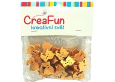 CreaFun Dřevěné knoflíčky Kočka 16 x 21 mm 30 kusů