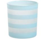 Yankee Candle Coastal Stripe svícen na votivní svíčku světle modrý 8 x 7 cm
