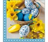 Aha Velikonoční papírové ubrousky košík, modré kraslice, narcicy 33 x 33 cm 3 vrstvé 20 kusů
