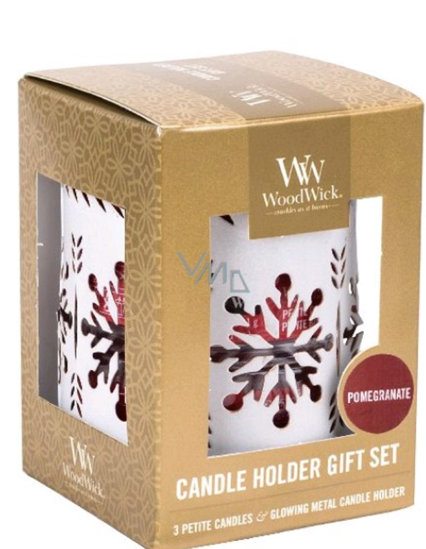 Woodwick Darčekový set 3ks petite + svietnik White Snowfl. 9501