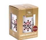 WoodWick Pomegranate - Granátové jablko vonná svíčka s dřevěným knotem petite 3 x 31 g + Bílá vločka svícen dárkový set
