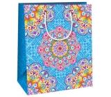 Ditipo Dárková papírová taška střední modrá, barevné mandaly 18 x 10 x 22,7 cm C