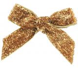 Mašle sametová zlatá třpytivá 8 cm 12 kusů