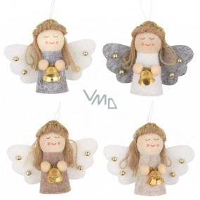 Anděl se zvonečkem závěsný různé barvy 5,5 cm 1 kus