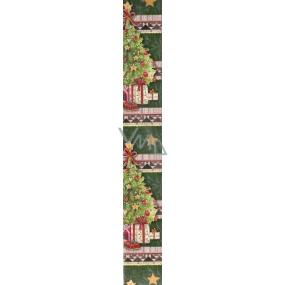 Nekupto Vánoční balicí papír tmavě zelený Dárky pod stromečkem 2 x 0,7 m
