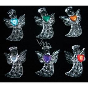 Sada ze skla andělé se srdíčkem 4,5 cm 6 kusů