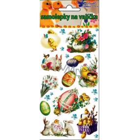 Samolepky velikonoční gelové s fialovým košíčkem 19 x 9 cm
