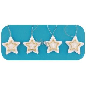 Hvězdy na pověšení, zlatý dekor 5 cm, 4 kusy v sáčku