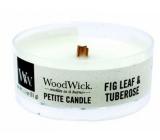 WoodWick Fig Leaf & Tuberose - Fíkové lístky a tuberóza vonná svíčka s dřevěným knotem petite 31 g