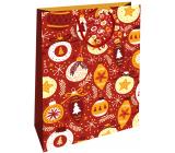 Nekupto Dárková papírová taška 46 x 33 x 10,5 cm červená baňky Vánoční WBXL 1958 30